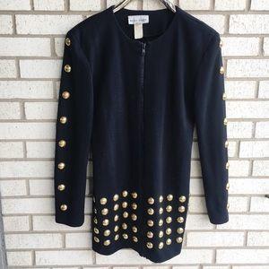 Vintage 70s Studded Zip Up Mini Dress Black Gold S